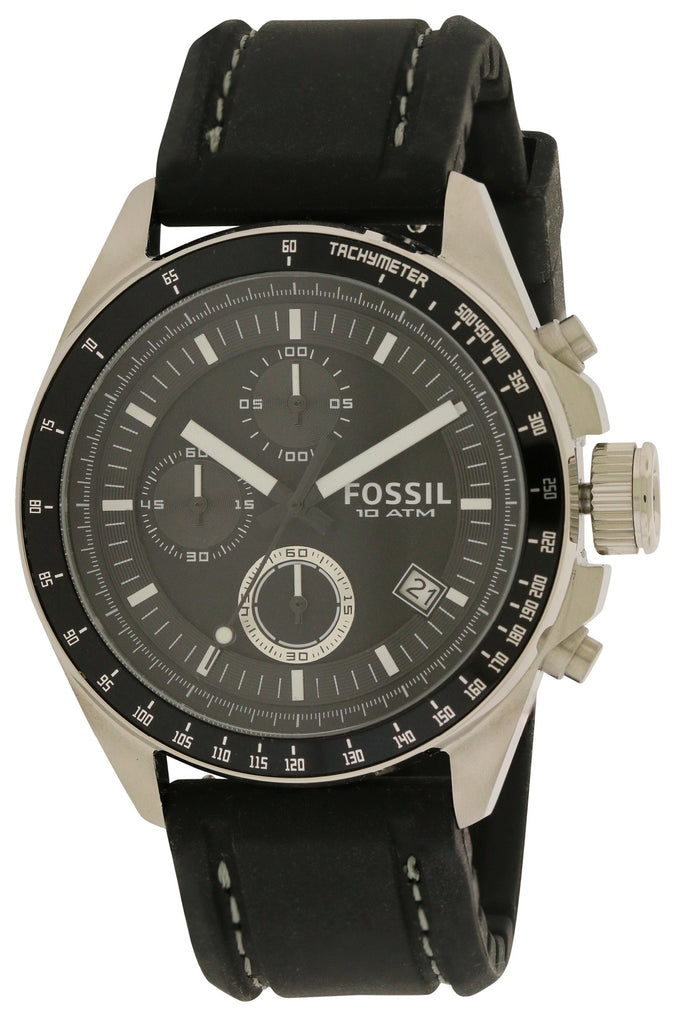 Fossil Decker Black Chronograph Mens Watch