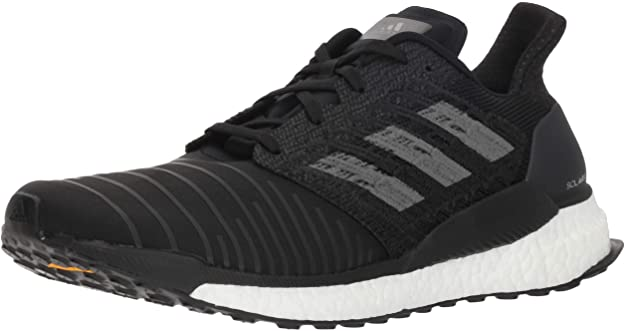adidas Mens Solar Boost Running Shoes - Black/Grey/White - 9.5
