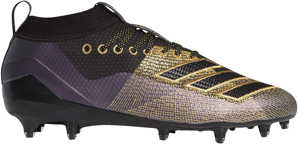 adidas Mens Adizero 8.0 Football Shoe - Black/Gold Metallic/Grey - Size: 9