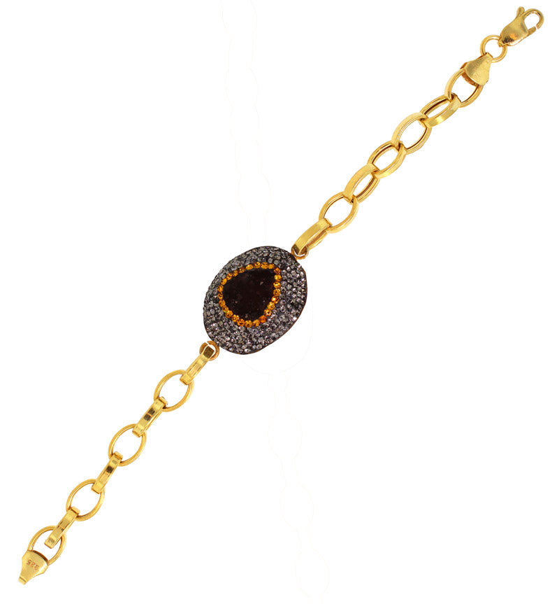 925 Sterling Silver Brown Druzy On A Gold Plated Link Bracelet -