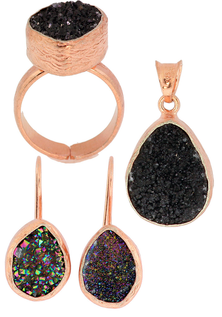 925 Sterling Silver Rose Gold Black Druzy Set -