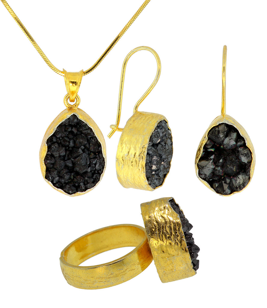 925 Sterling Silver Gold Plated Black Druzy Set -