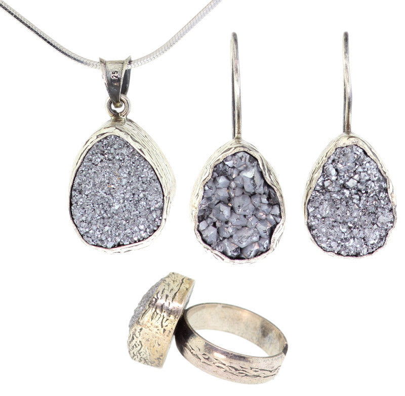 925 Sterling Silver Rhodium Plated Grey Druzy Set -