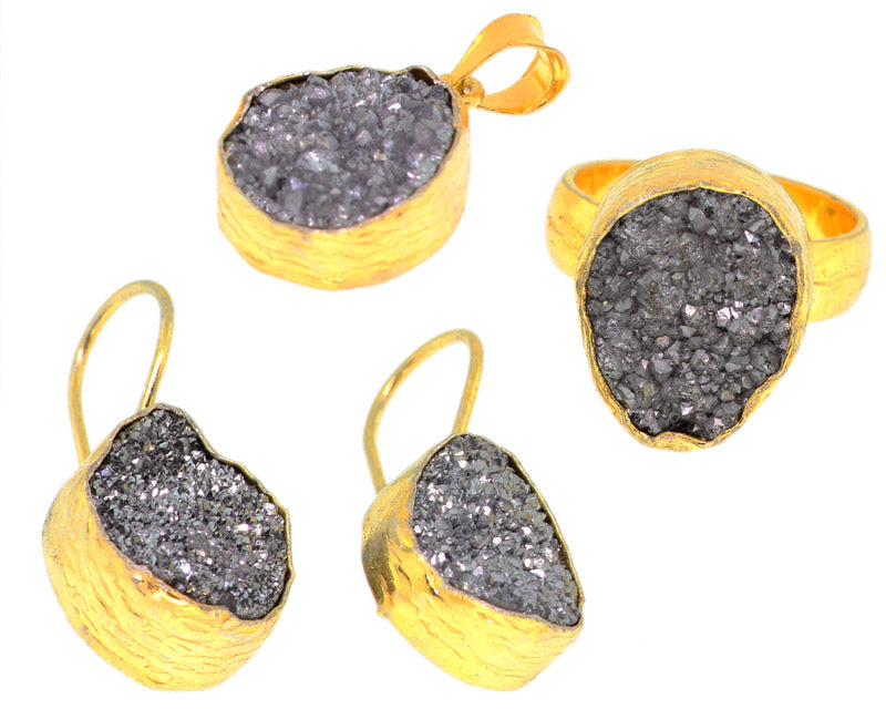 925 Sterling Silver 14k Gold Plated Light Grey Druzy Set Of Ring Pendant And Earrings -