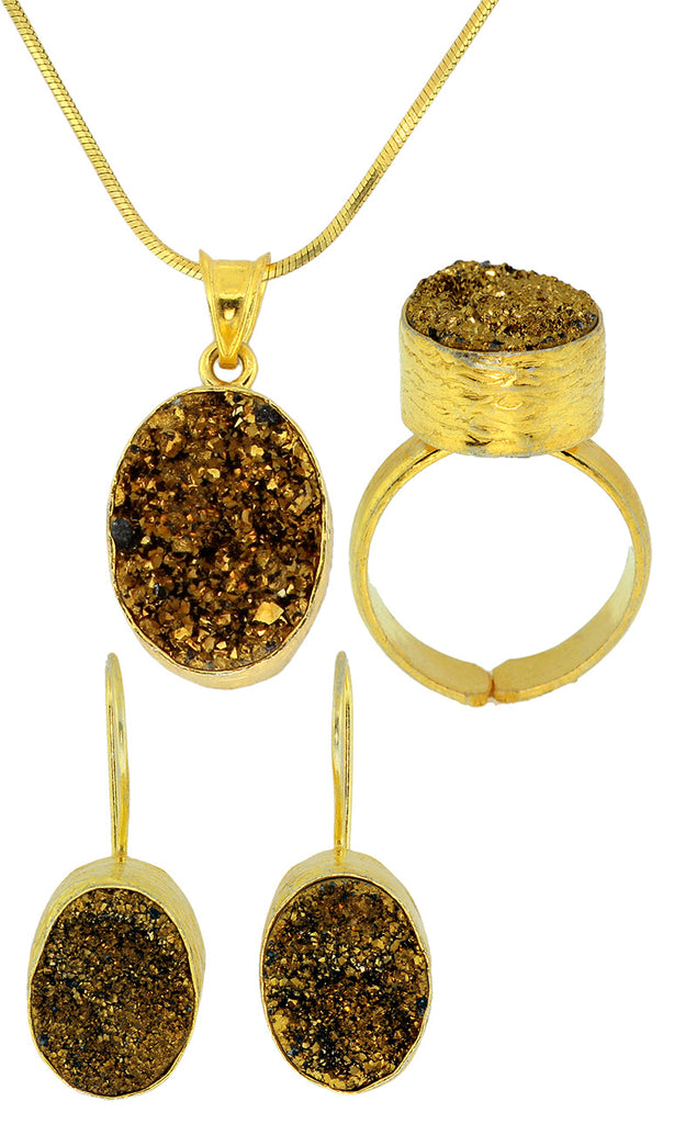 925 Sterling Silver Gold Plated Druzy Quarts Set -