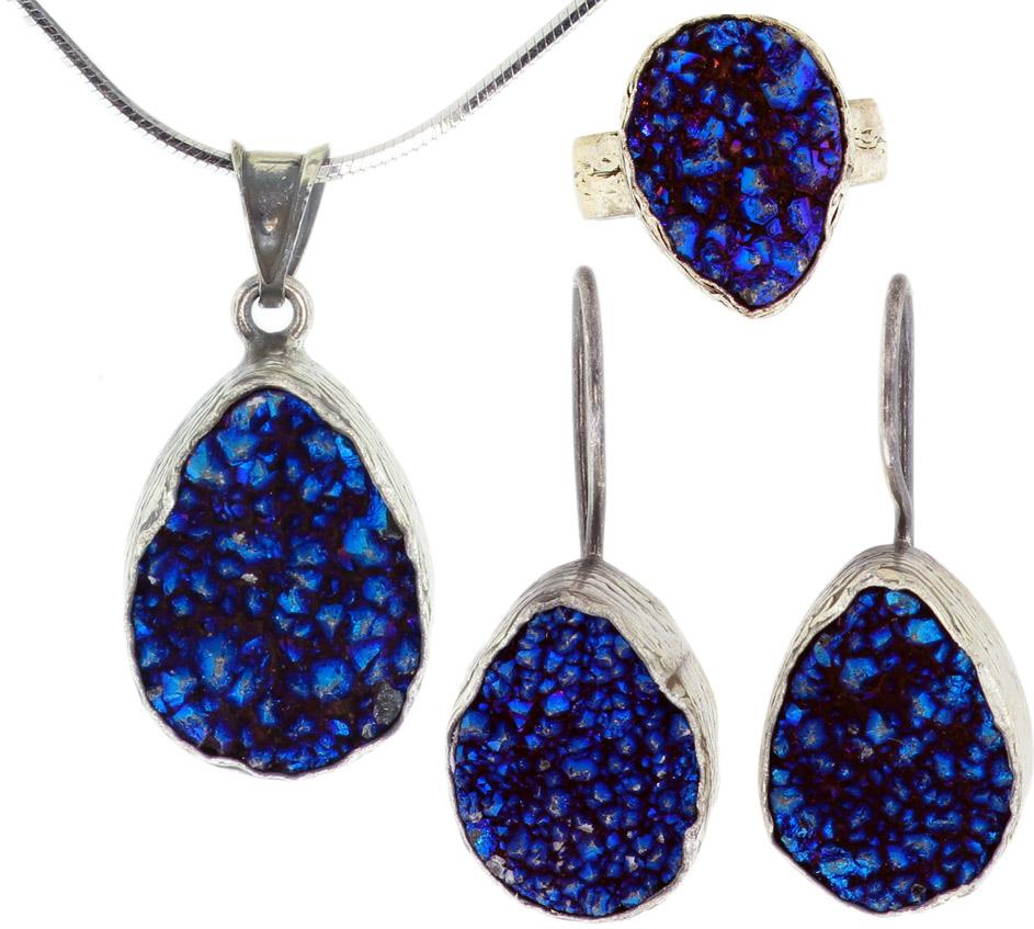 925 Sterling Silver Rhodium Plated Blue Druzy Set -