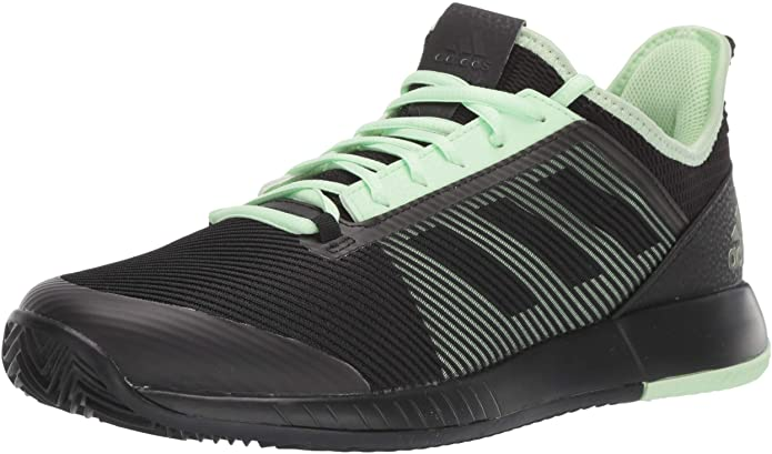adidas Womens Adizero Defiant Bounce 2 Tennis Shoes - Black/Black/Glow Green - 10.5