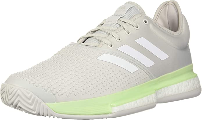 adidas Womens SoleCourt Boost Tennis Shoes - Glow Green/White/Grey - 6
