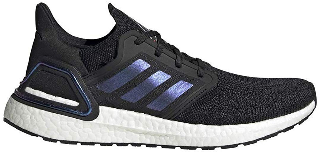 adidas Mens Ultraboost 20 Sneaker - Black/Boost Blue Violet Metallic/ White - 10