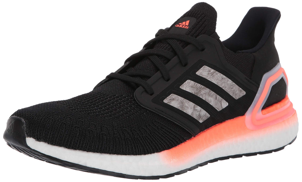 adidas Mens Ultraboost 20 Running Shoe - Black/White/Signal Coral - 10.5