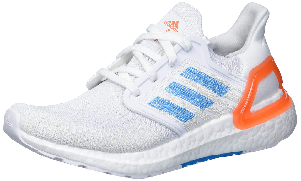 adidas Mens Ultraboost 20 Primeblue Running Shoe - White/Sharp Blue/True Orange - 9.5