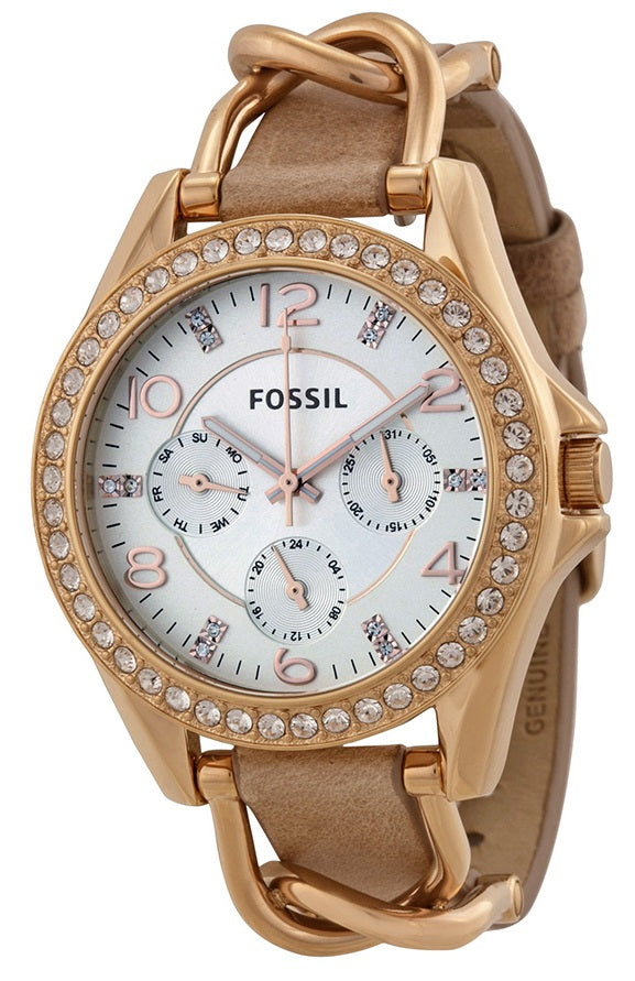 Fossil Riley Multifunction Rose Gold-Tone and Leather Ladies Watch