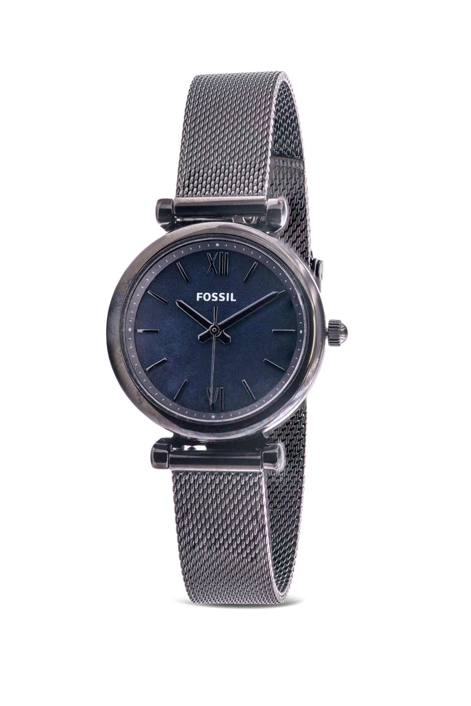 Fossil Carlie Mini Black Stainless Steel Mesh Ladies Watch