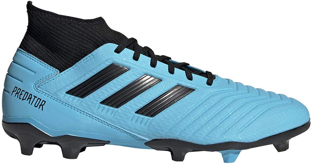 adidas Mens Predator 19.3 Firm Ground Soccer Shoe - Bright Cyan/Black/Solar Yellow - 8