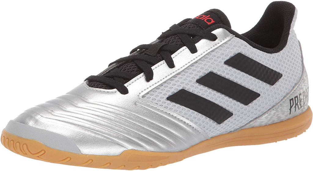 adidas Mens Predator 19.4 in Sala Soccer Shoe - Silver Metallic/Black/Hi-res Red - 8