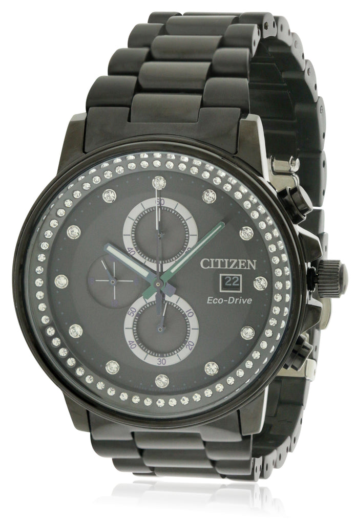 Citizen Eco-Drive Nighthawk Black Ion Chronograph Ladies Watch
