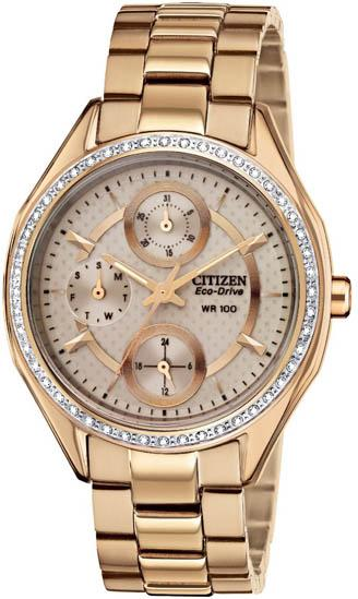 Citizen Eco-Drive Rose Gold-Tone Crystal Ladies Watch FD1063-57X