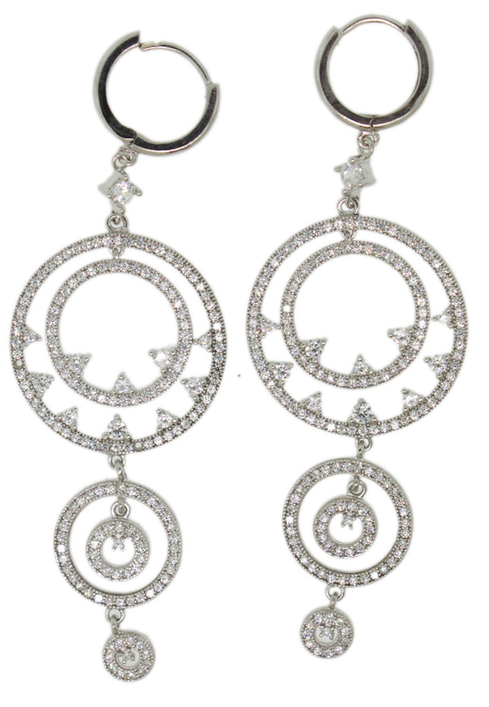 925 Sterling Silver Micro Pave Round Hanging CZ Earring -