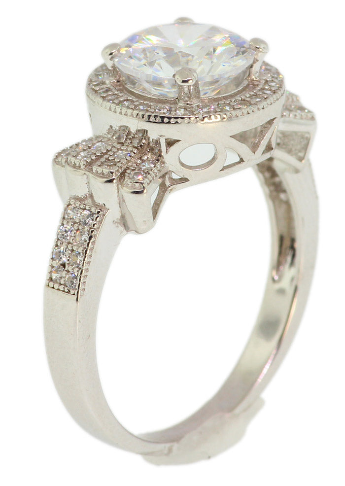 925 Sterling Silver Micro Pave With Centered Round CZ Set -