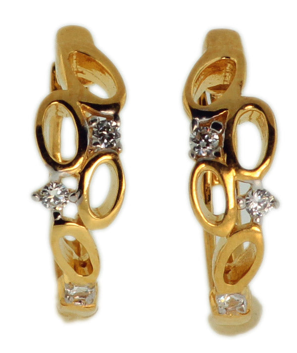 925 Sterling Silver Gold Plated Earrings With Round CZ -