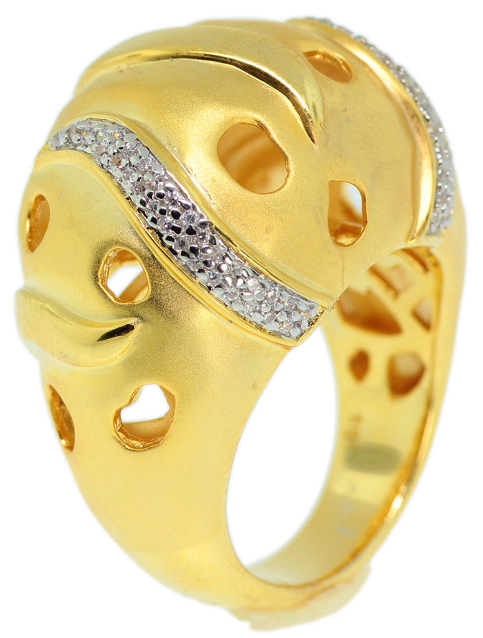925 Sterling Silver Gold Plated Micro Pave CZ Ring -