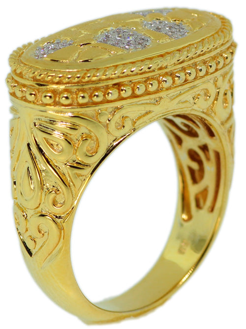 925 Sterling Silver Gold Plated With Micro Pave CZ Ring -