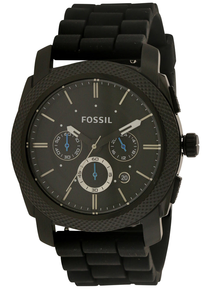 Fossil Black Silicone Chronograph Mens Watch