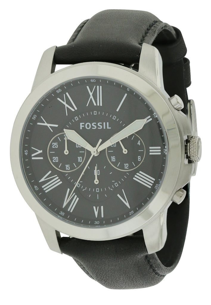 Fossil Grant Black Leather Chronograph Mens Watch
