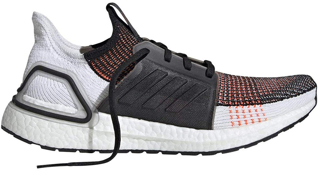 adidas Mens Ultraboost 19 Running Shoe - Black/White/Solar Orange - 9.5