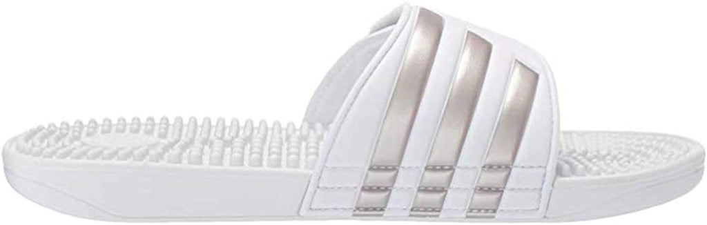 adidas Womens Adissage Slide - White/Platino Metallic/White - Size: 8