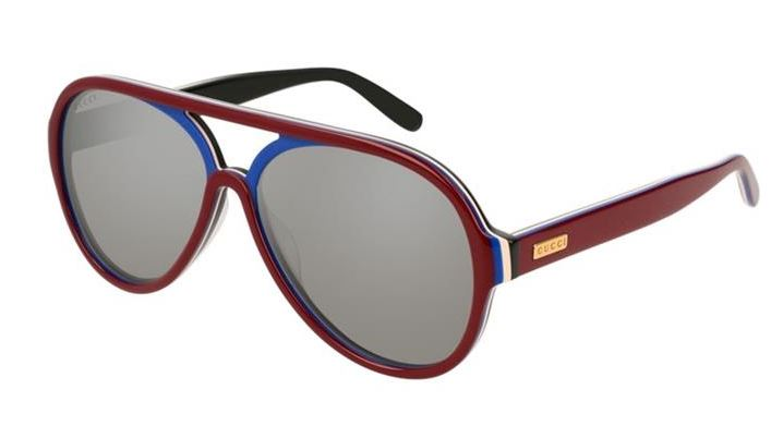 Gucci Pilot Burgundy Ladies Sunglasses -