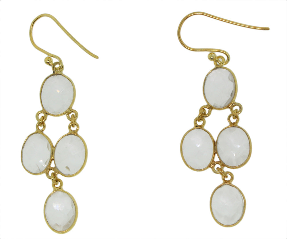 Gold Plated 925 Silver Genuine Stone Clear Quartz Small Cascade Earring -