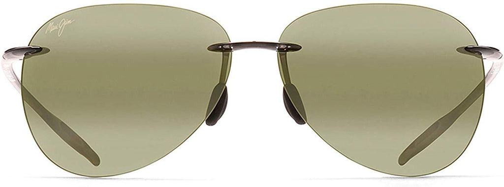 Maui Jim Sugar Beach Polarized Aviator Sunglasses - Smoke Gray Frame/Green Maui Ht Lens