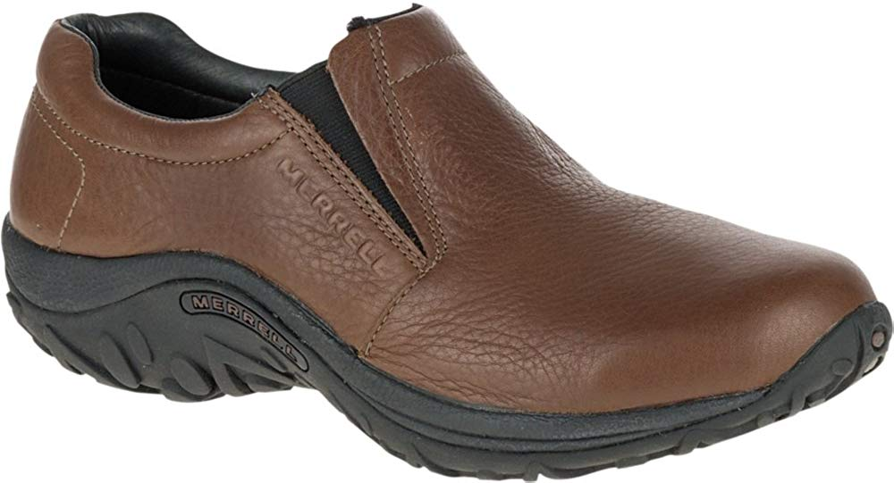 Merrell Mens Jungle Moc Leather Slip-On Shoe - Mahogany Brown - 10