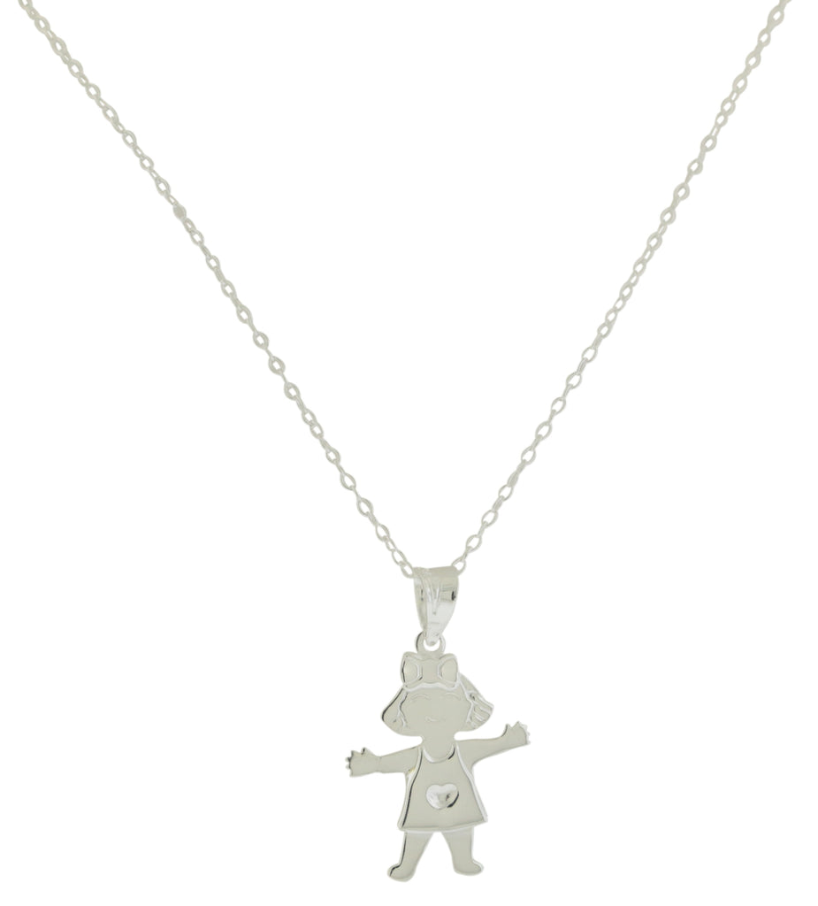Sterling Silver Girl Pendant with - Chain