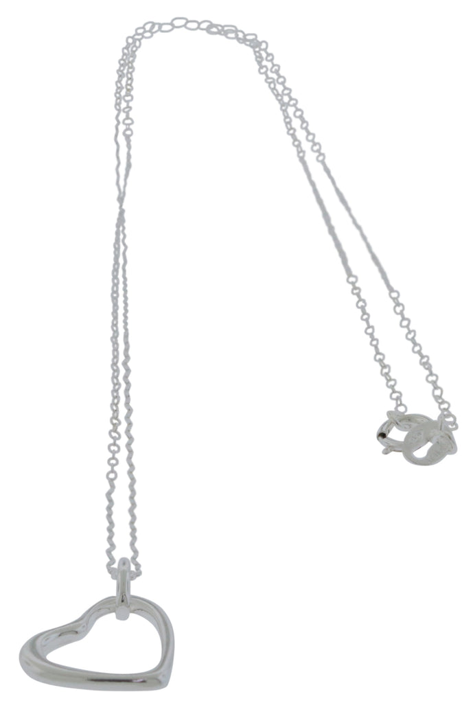 Sterling Silver Open Heart Pendant with Chain -