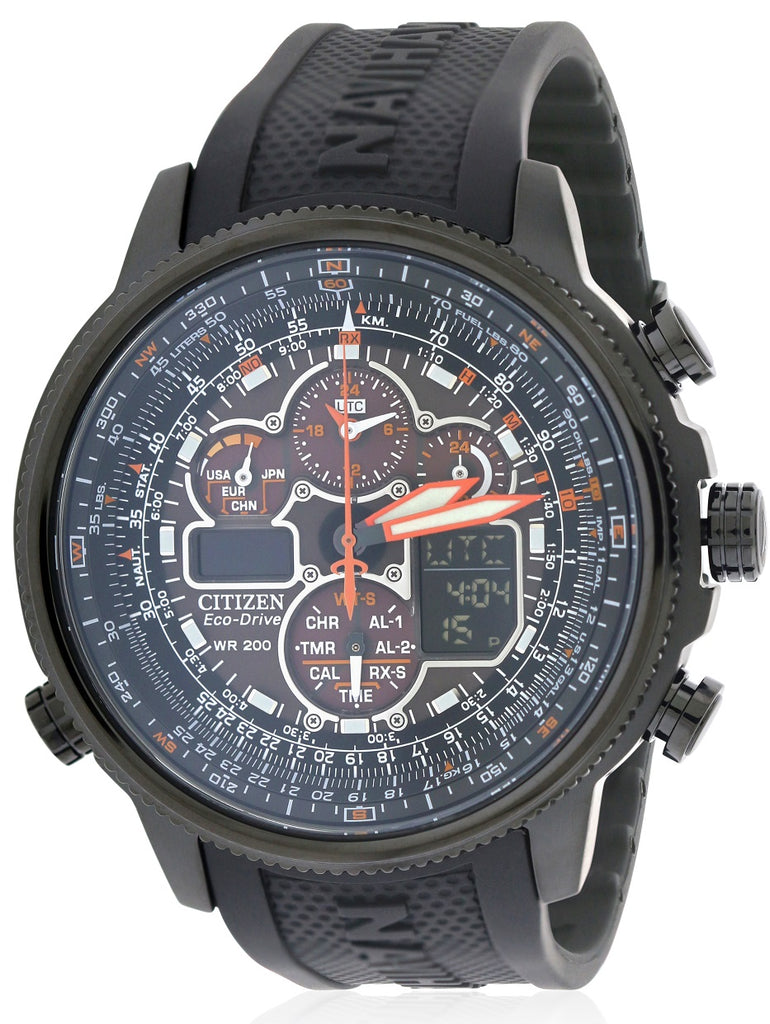 Citizen Eco-Drive Navihawk Atomic Alarm Chronograph Mens Watch