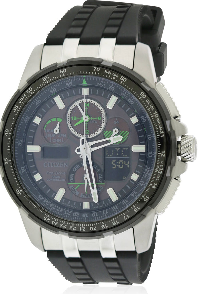 Citizen Eco-Drive Skyhawk A-T Chronograph Perpetual Rubber Mens Watch