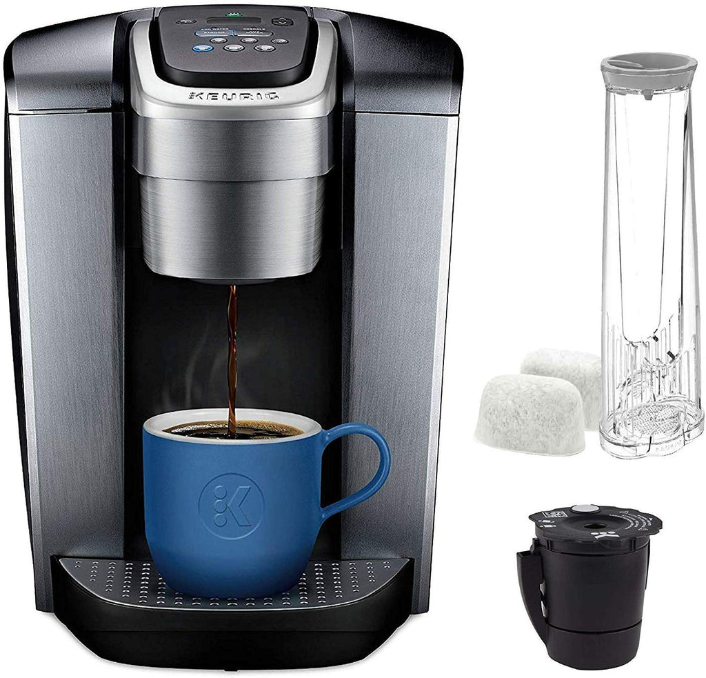 Keurig C K-Elite Maker Single Serve K-Cup Pod Brewer with Iced Coffee Capability - 75oz Brushed Silver Plus Filter Bundle