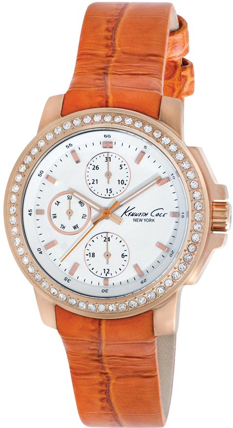 Kenneth Cole New York Orange Leather Multifunction Ladies Watch