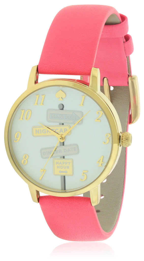 Kate Spade Metro Clocktower Gray Leather Ladies Watch
