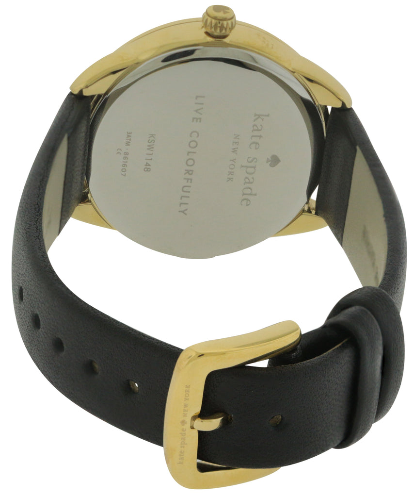 Kate Spade New York Crosstown Record Black Leather Ladies Watch