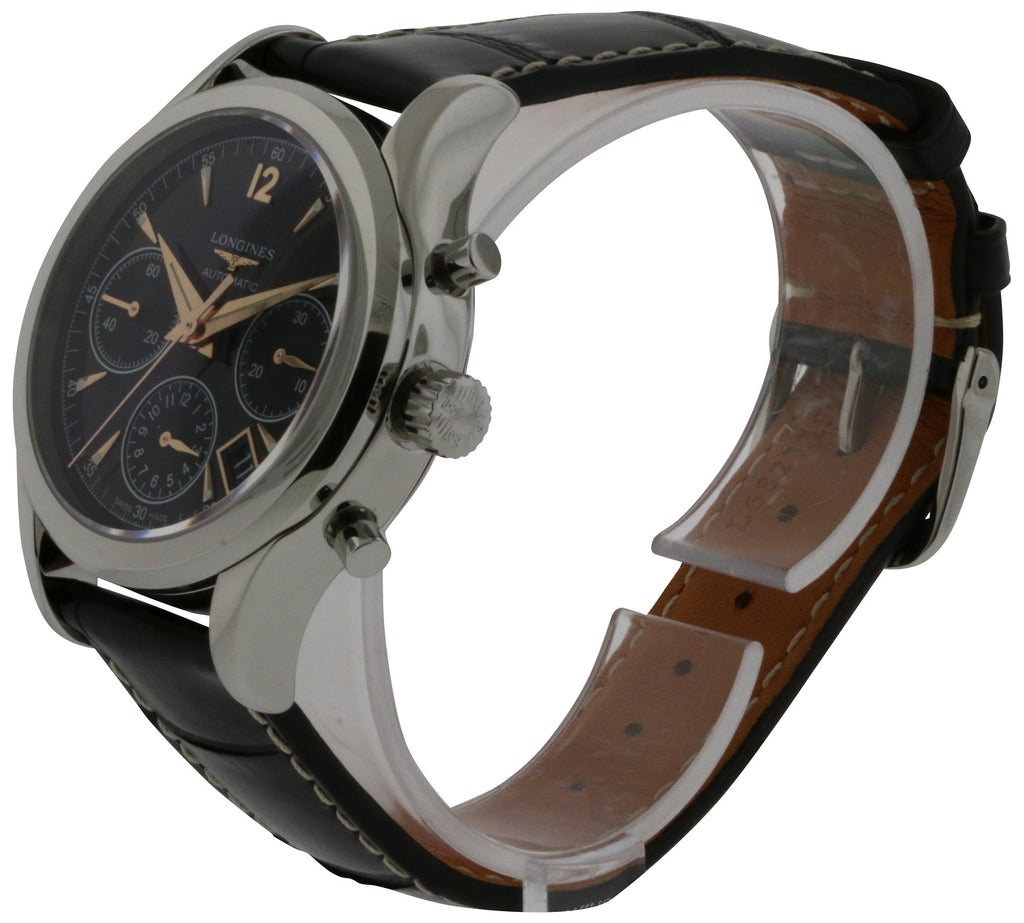 Longines Heritage Leather Chronongraph Automatic Mens Watch