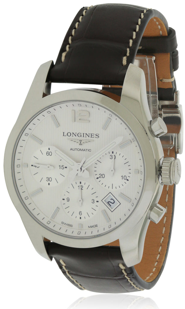 Longines Conquest Leather Chronograph Automatic Mens Watch