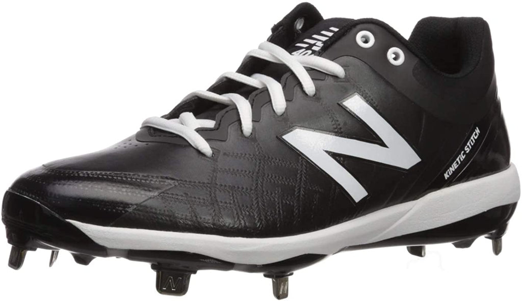 New Balance Mens 4040v5 Metal Low-Cut Baseball Cleat - Black/White - 8