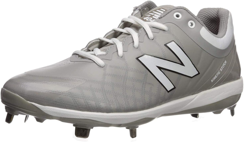 New Balance Mens 4040v5 Metal Low-Cut Baseball Cleat - Grey/White - 8