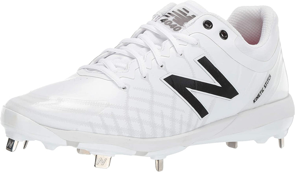 New Balance Mens 4040v5 Metal Low-Cut Baseball Shoe - White/White - 8.5