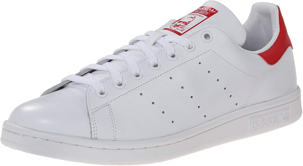 adidas Originals Stan Smith Mens Sneaker - White/White/Collegiate Red - Size 10.5