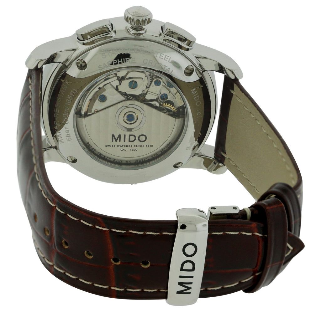 Mido Baroncelli Leather Automatic Chronograph Mens Watch