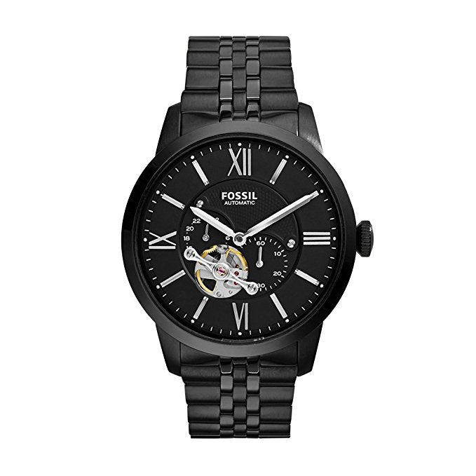 Fossil Townsman Black Stainless Steel Auomatic Mens Watch